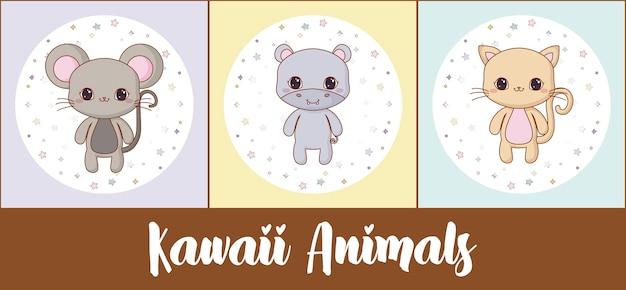 Icon set of kawaii animals
