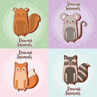 Icon set of kawaii animals