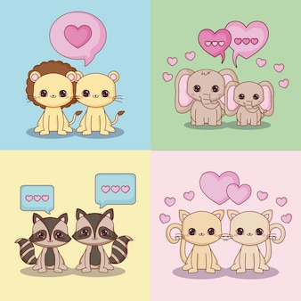 Icon set of kawaii in love couple of animals