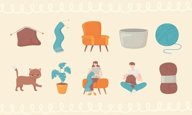 Icon set of knitting
