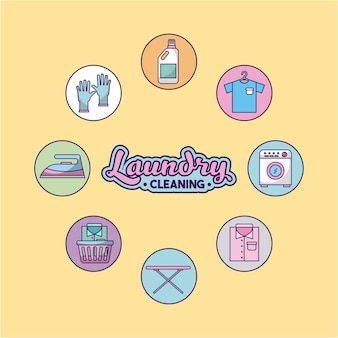 Icon set laundry cleaning delicate