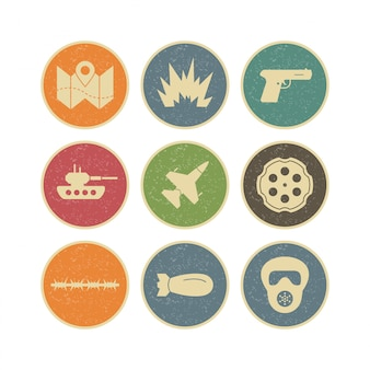 Icon set of military