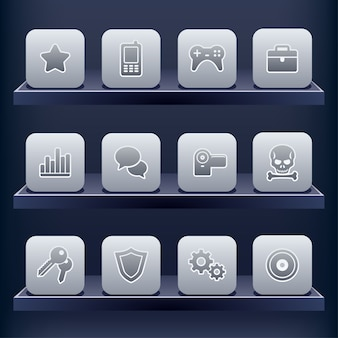 Icon set for mobile apps Premium Vector