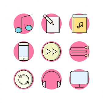 Icon set of multimedia for personal and commmercial use