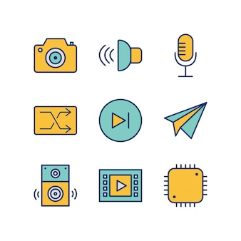 Icon set of multimedia for personal and commmercial use...