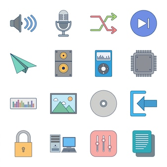 Icon set of multimedia