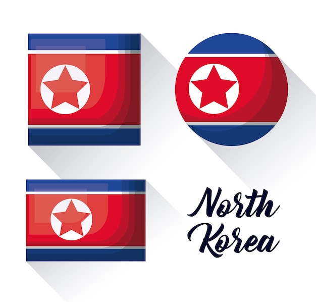 Icon set of north korea flag in different shapes