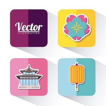 Набор иконок азии концепция культуры на красочные квадраты и белый фон, векторные иллюстрации