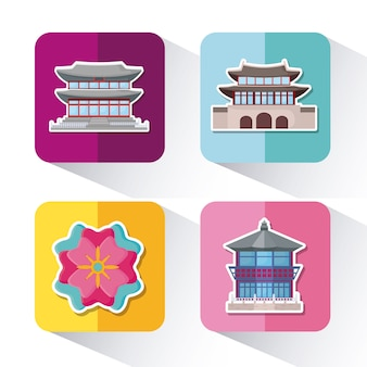 Набор иконок концепции азии