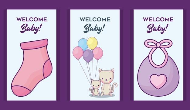 보라색 배경 위에 귀여운 동물들과 함께 베이비 샤워 초대장의 아이콘 세트