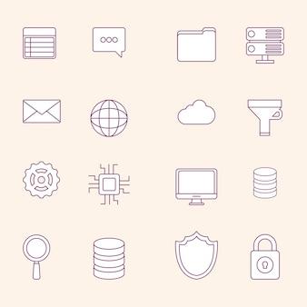 큰 데이터 개념의 아이콘 세트