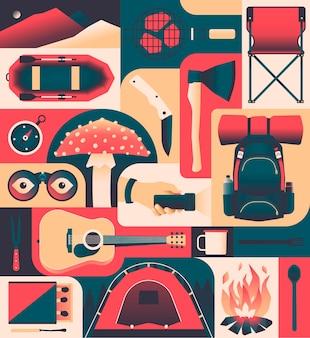 キャンプ、ポスターのアイコンセット。山、バーベキュー、椅子、ボート、ナイフ、斧、コンパス、キノコ、ランプ、バックパック、ギター、マッチ、テント、焚き火、スプーン。