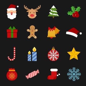 Icon set of Christmas.Vector illustration.