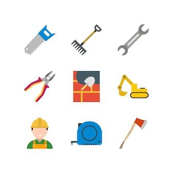 個人および商業用の建設のアイコンセット