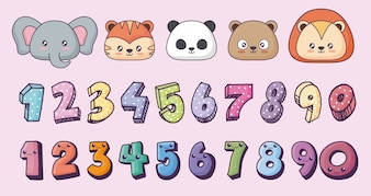 Icon set of cute animals and kawaii numbers