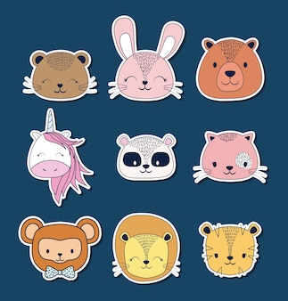 Icon set of cute animals
