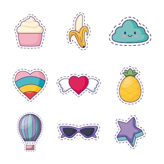 Icon set of cute related icons