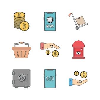個人および商業用の電子商取引のアイコンセット