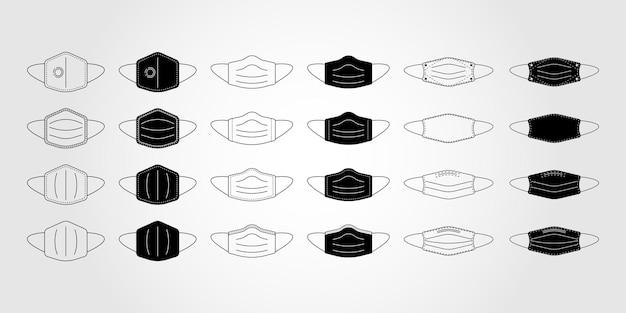 얼굴 마스크, 마우스 가드, 마스크, 의학 벡터 아이콘 그림의 아이콘 세트