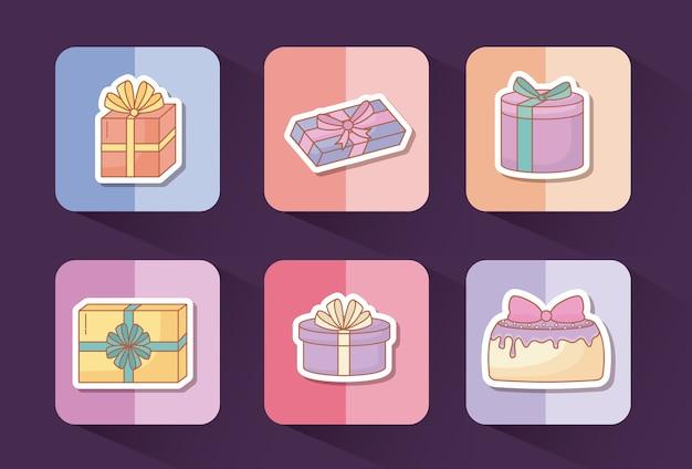 생일 개념의 아이콘 세트