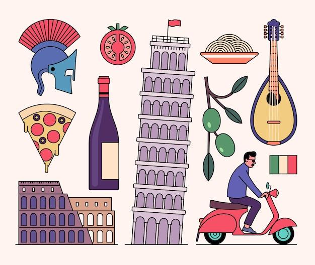 イタリアのアイコンセット、白い背景。騎士のヘルメット、トマト、ワインのボトル、コロシアム、ピサの斜塔、パスタ、マンドリン、オリーブの木、スクーター、旗。