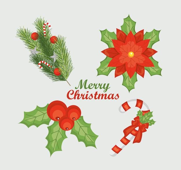 메리 크리스마스 장식 나뭇잎과 흰색 배경 위에 요소 아이콘 세트