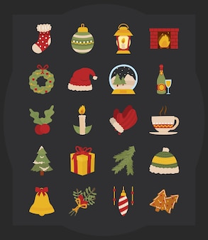 검은 배경 위에 메리 크리스마스 아이콘 세트