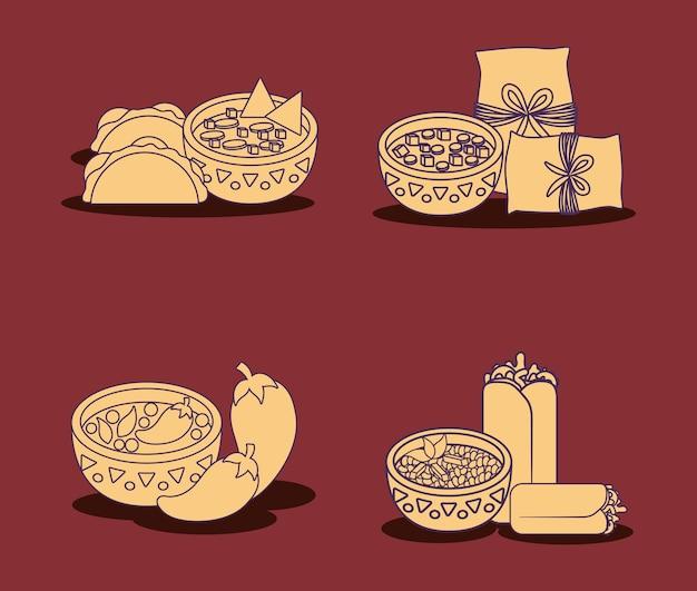 赤い背景、カラフルなラインデザイン上のメキシコ料理のアイコンセット。ベクトルイラスト