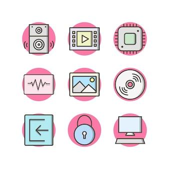 個人用および商業用のマルチメディアのアイコンセット