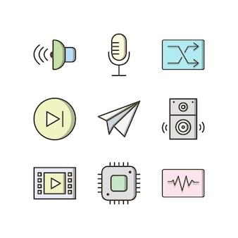 個人用および商業用のマルチメディアのアイコンセット...