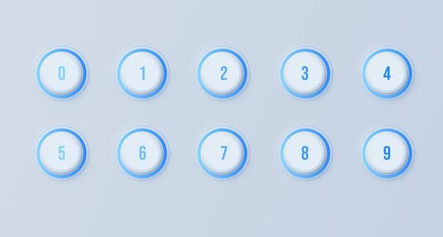 暗いニューモルフィズム効果を持つ1から10までの番号の箇条書きのアイコンセット