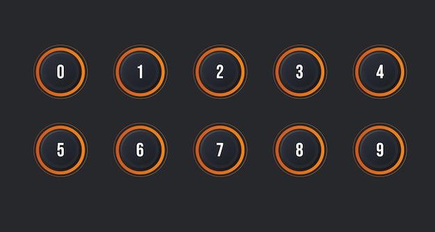 Neumorphism 효과가있는 1에서 10까지의 숫자 글 머리 기호 아이콘 세트