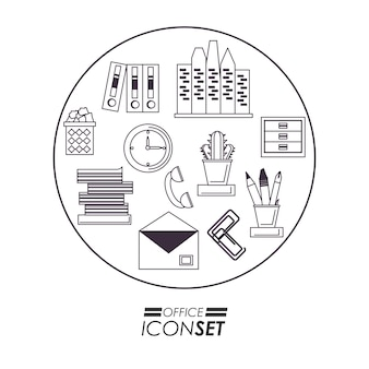 Icon set of office supplies and objects theme