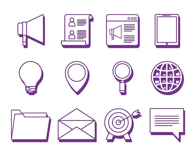 온라인 마케팅 디자인의 아이콘 세트