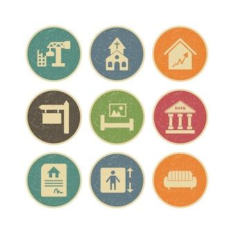 개인 및 상업적 사용을위한 부동산의 아이콘 세트
