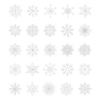 白い背景で隔離の雪の結晶のアイコンセット。トレンディなアウトラインシンボル。ラインスタイルのアイコンのパック。メリークリスマス。あけましておめでとう。冬。破線。ベクトルイラスト。