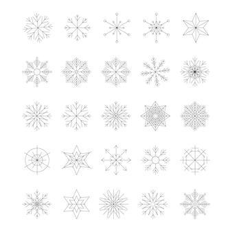白い背景で隔離の雪の結晶のアイコンセット。トレンディなアウトライン記号。ラインスタイルのアイコンのパック。メリークリスマス。あけましておめでとう。冬。ベクトルイラスト。