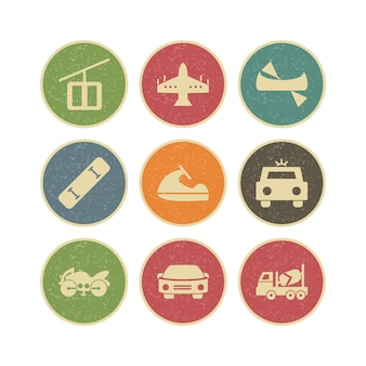 個人および商業用の交通機関のアイコンセット