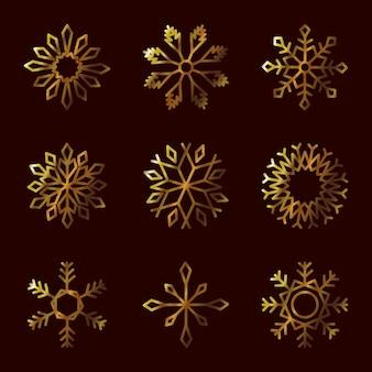 黒の上の冬の雪片のアイコンセット