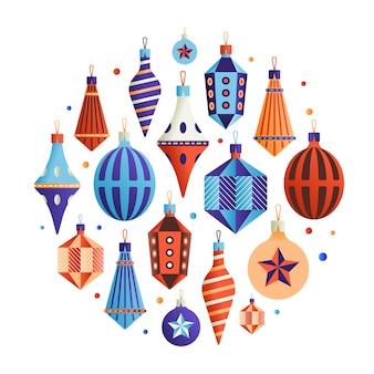 Набор иконок xmas, коллекция рождественских украшений, белый фон.
