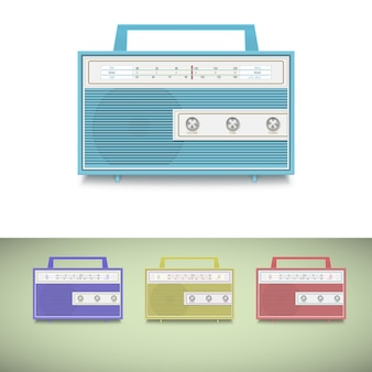 Icon set of old transistor radio