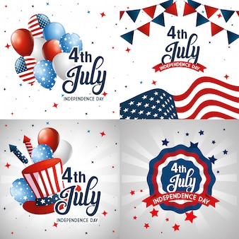 Набор иконок на кадрах, счастливый день независимости и тема сша