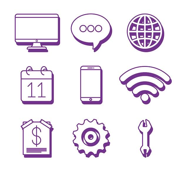 Icon set of online marketing design