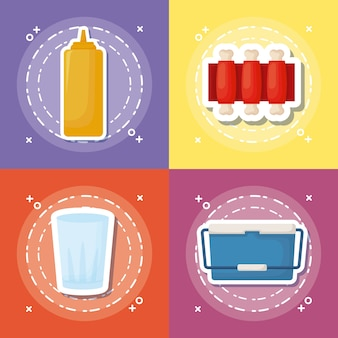 Icon set of picnic food concept