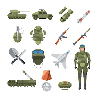 Icon set of police and army. military illustrations of soldiers, and different weapons