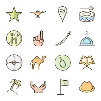 Icon set of ramadan