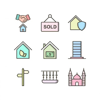 Icon set of real estate for personal and commercial use