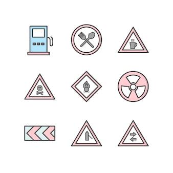 Icon set of road signs for personal and commercial use