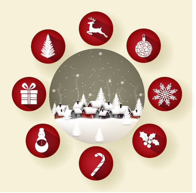 Icon set of round frames with christmas in the winter