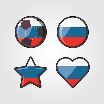 Icon set of russia flag in different shapes